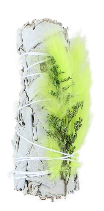 White Sage with Lime Green Feather 4""